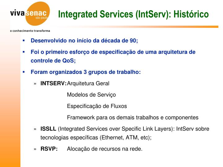 Integrated Services (IntServ): Histórico