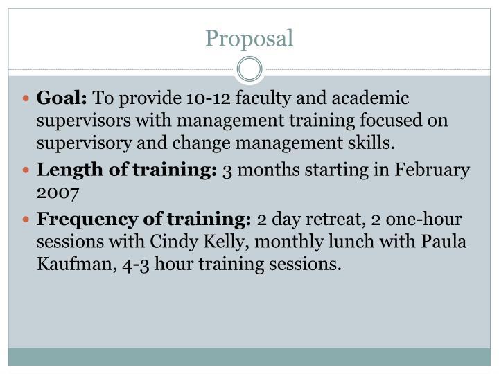 Proposal on training supervisors