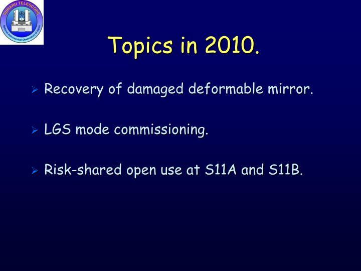 Topics in 2010