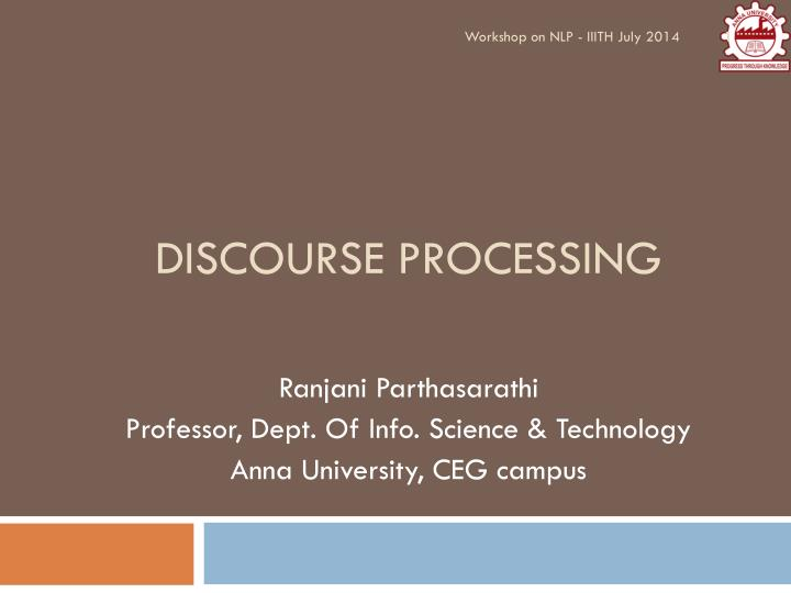 discourse processing n.