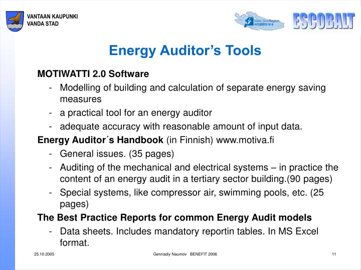Energy Auditor's Tools