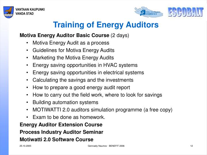 Training of Energy Auditors