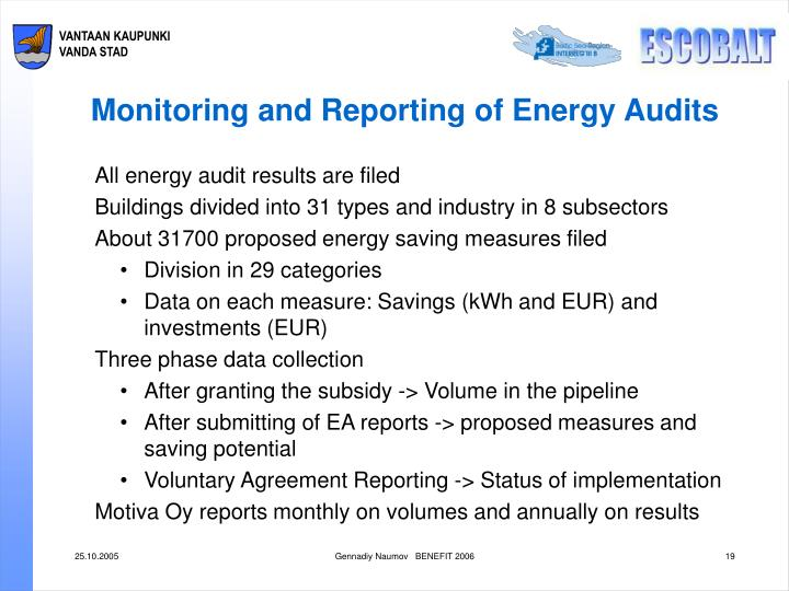 Monitoring and Reporting of Energy Audits