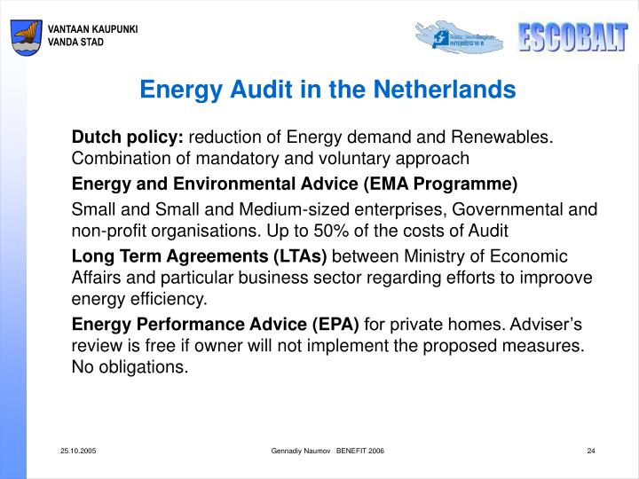 Energy Audit in the Netherlands