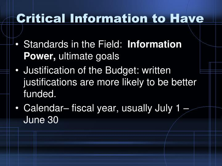 Critical Information to Have