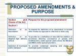 proposed amendments purpose
