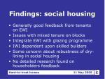 findings social housing