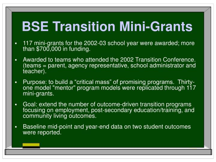 BSE Transition Mini-Grants