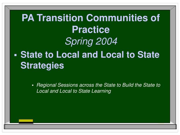 PA Transition Communities of Practice