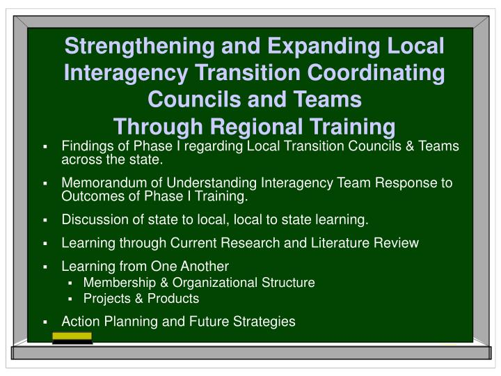 Strengthening and Expanding Local Interagency Transition Coordinating Councils and Teams
