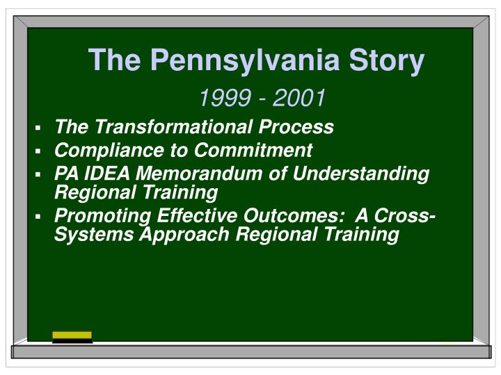 The pennsylvania story 1999 2001