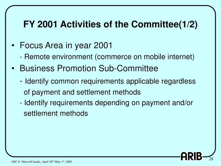 FY 2001 Activities of the Committee(1/2)