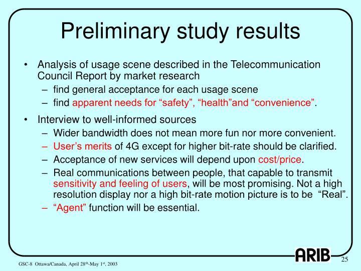 Preliminary study results