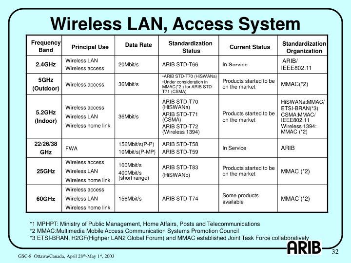 Wireless LAN, Access System