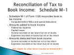 reconciliation of tax to book income schedule m 1