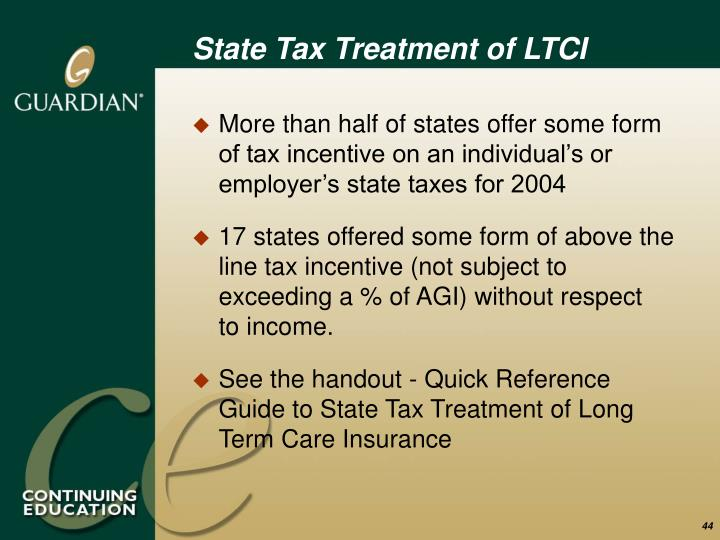 State Tax Treatment of LTCI