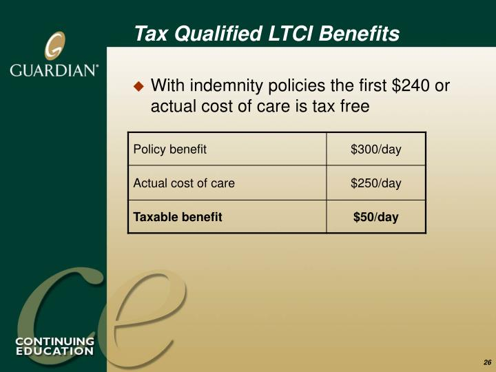 Tax Qualified LTCI Benefits