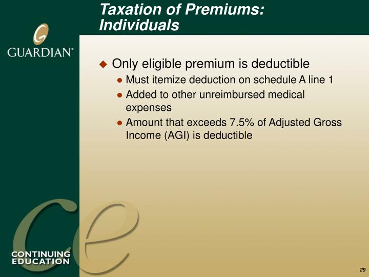 Taxation of Premiums: Individuals