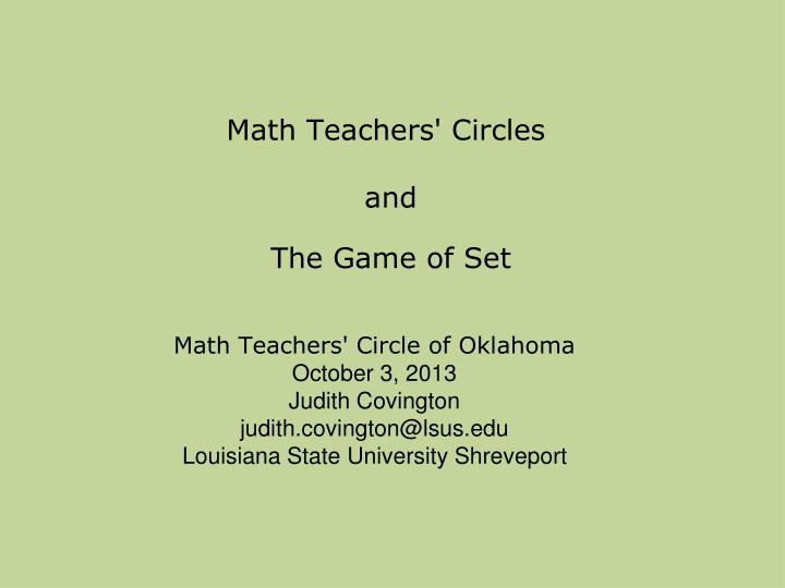 math teachers circles and the game of set n.