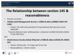 the relationship between section 145 reasonableness