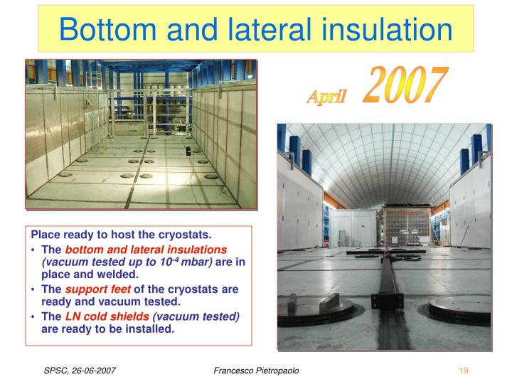 Bottom and lateral insulation