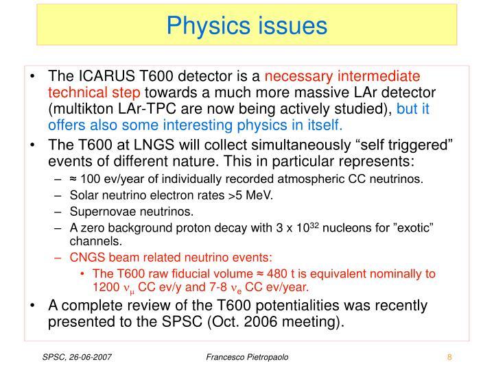 Physics issues