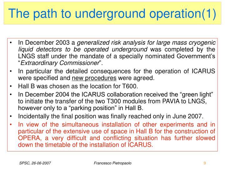 The path to underground operation(1)