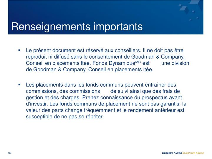 Renseignements importants