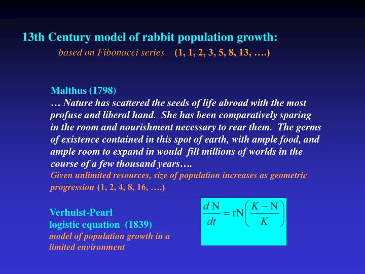 13th Century model of rabbit population growth: