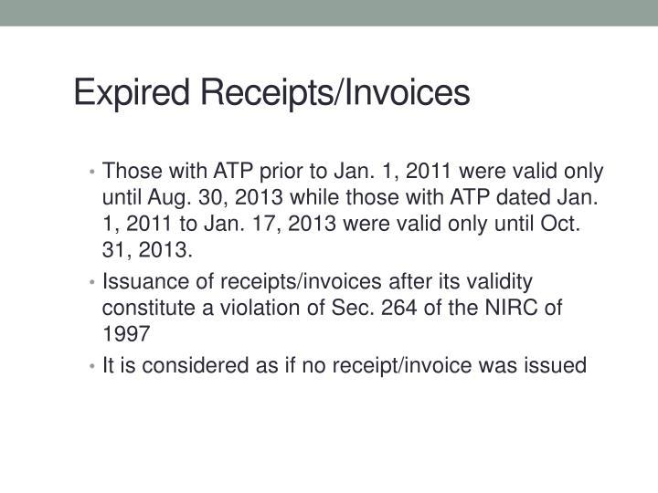 Expired Receipts/Invoices
