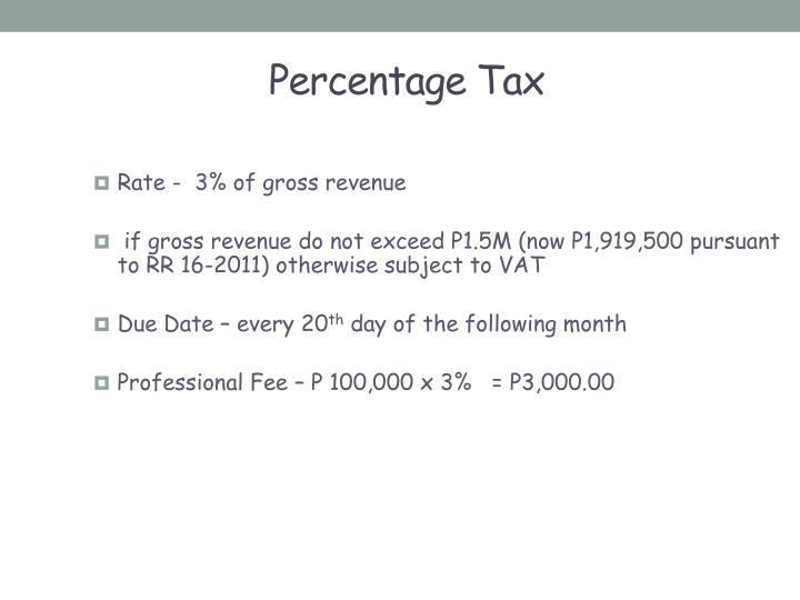 Percentage Tax