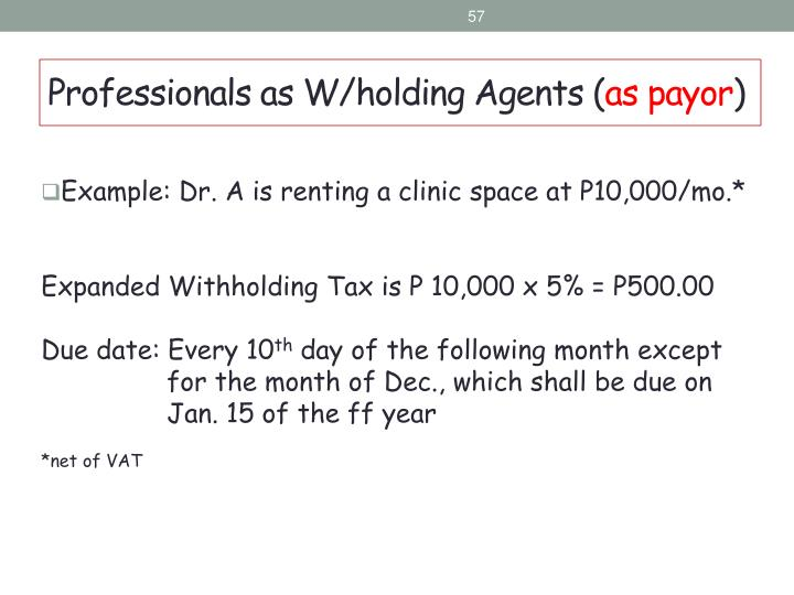 Example: Dr. A is renting a clinic space at P10,000/mo.*