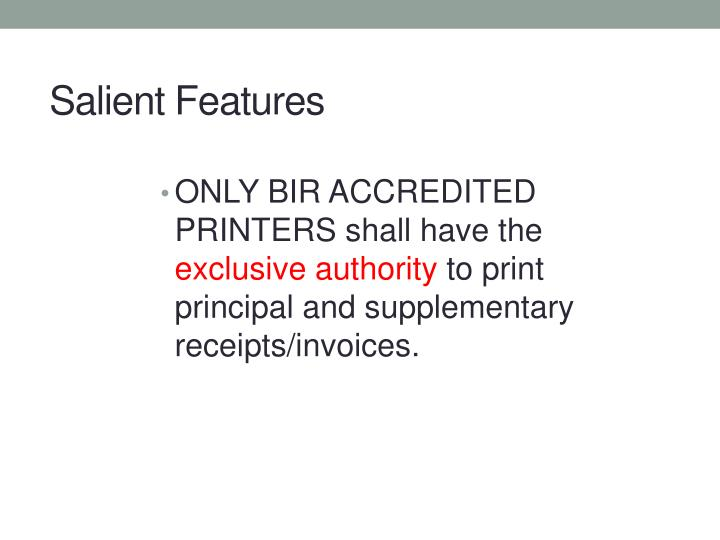 ONLY BIR ACCREDITED PRINTERS shall have the