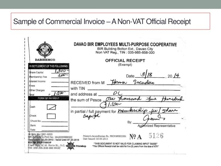 Sample of Commercial Invoice – A Non-VAT Official Receipt