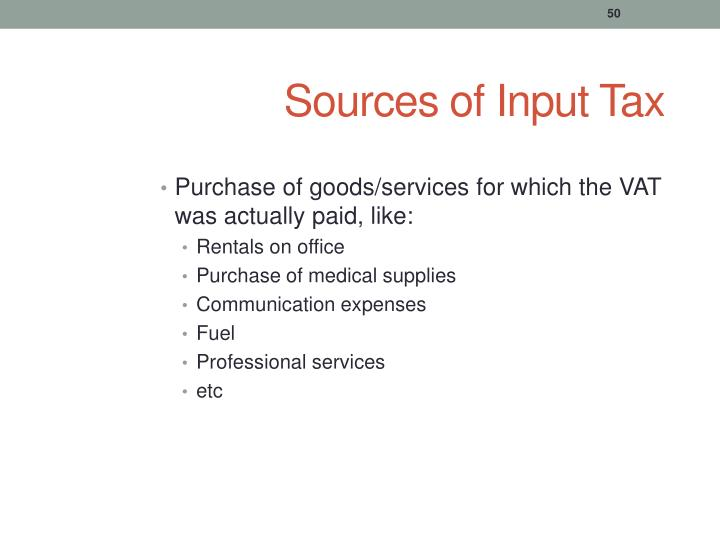 Sources of Input Tax