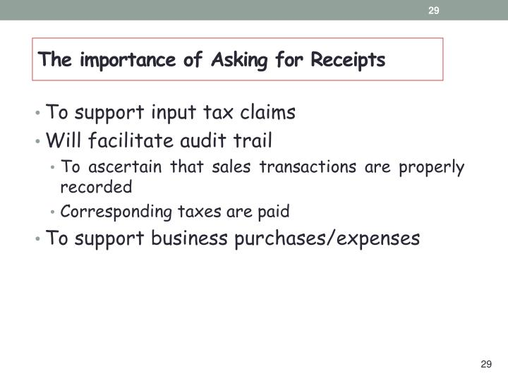 The importance of Asking for Receipts