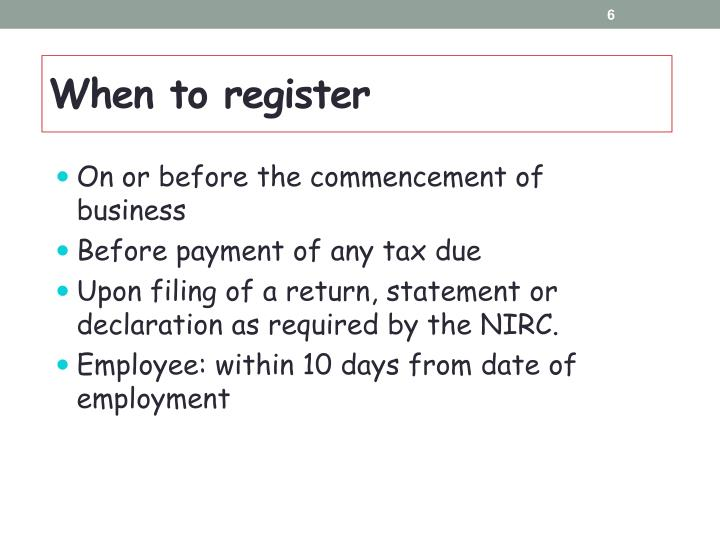When to register