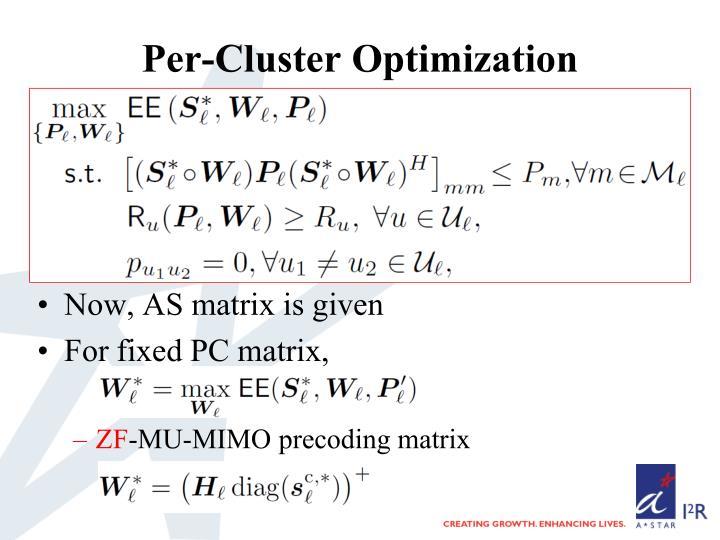Per-Cluster Optimization