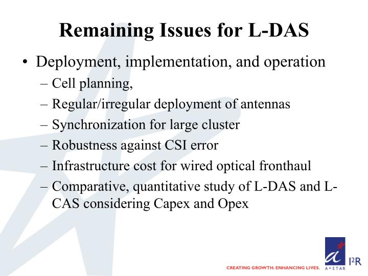 Remaining Issues for L-DAS