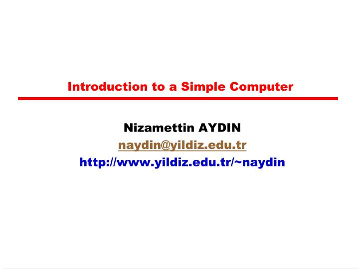 introduction to a simple computer n.