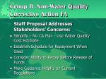 group b non water quality corrective action fa