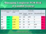 managing longterm pcm risk of landfill system