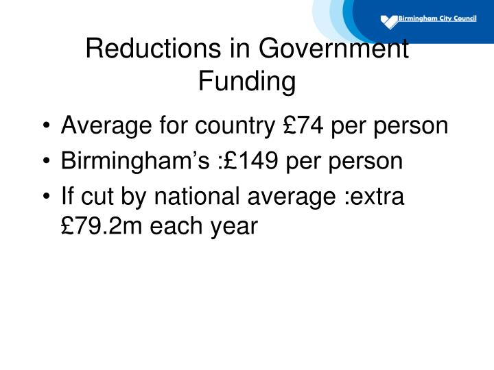 Reductions in Government Funding