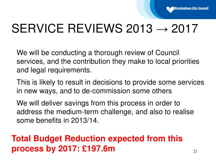 SERVICE REVIEWS 2013