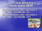 ees ltess budgets fiscal years 08 091