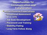 opportunities for communication and collaboration
