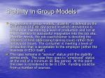stability in group models