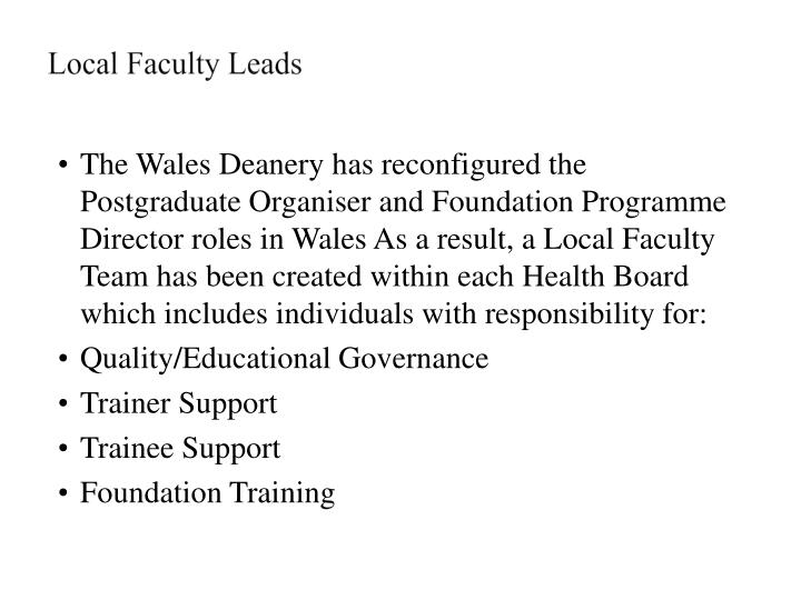 Local Faculty Leads