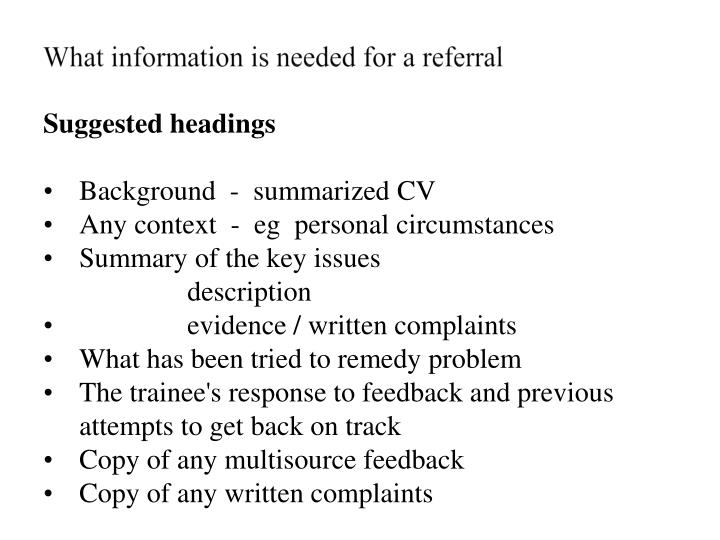 What information is needed for a referral