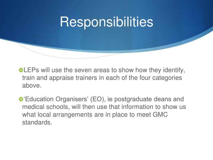 LEPs will use the seven areas to show how they identify, train and appraise trainers in each of the four categories above.